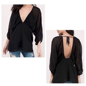 Tobi Black Double Deep V Chiffon Blouse